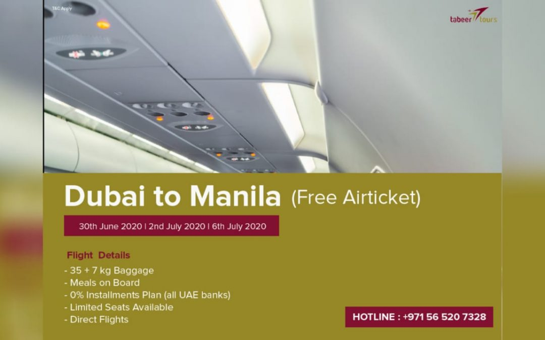Tabeer Tours now offering free one-way tickets from Dubai to Manila for jobless, homeless Filipinos