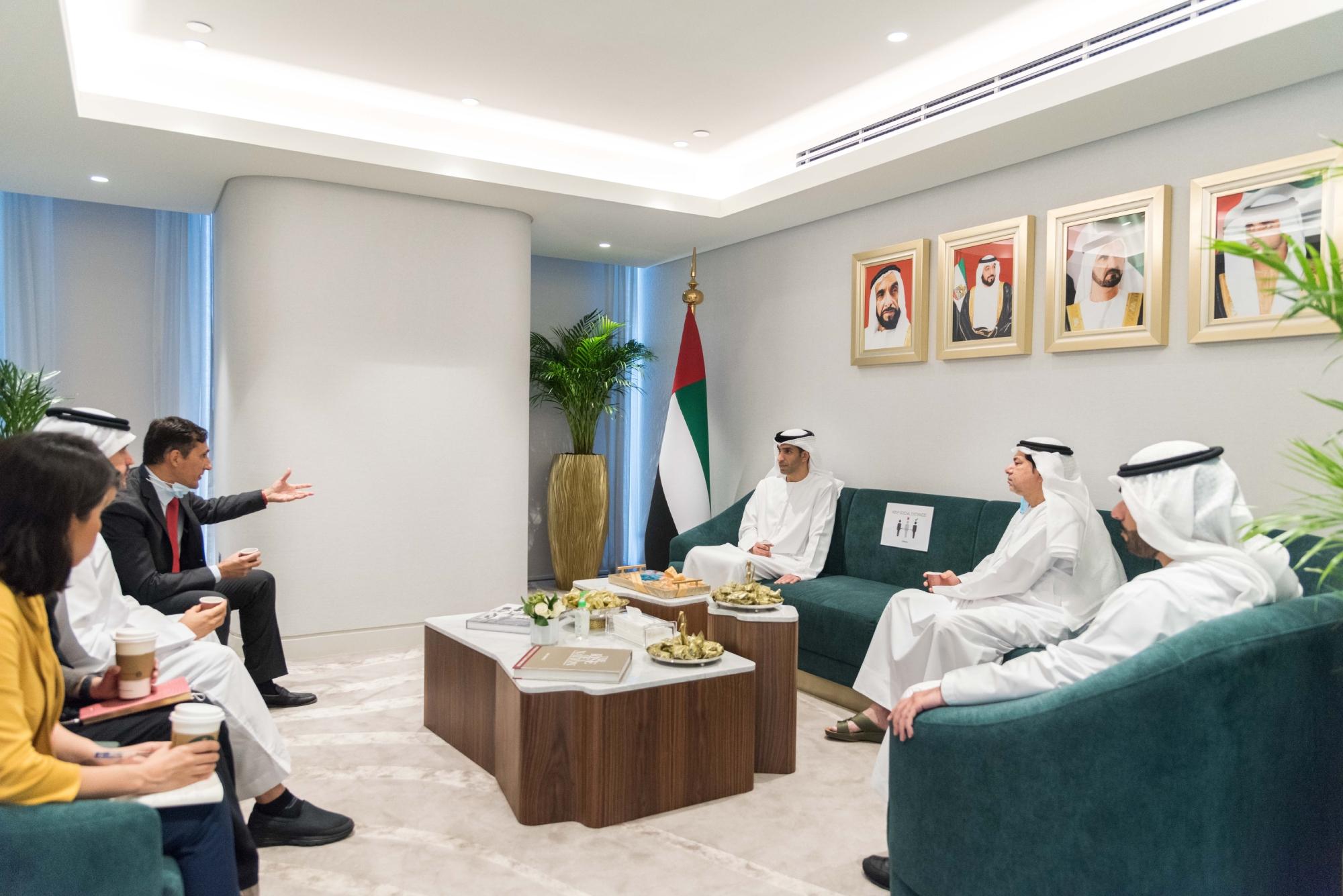 Massimo Falcioni, CEO of ECI, talking to H.E. Dr. Thani bin Ahmed Al Zeyoudi about the mandate and goals of ECI