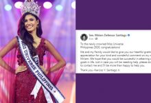 Photo of Husband of late Sen. Miriam Santiago expresses support for Miss Universe 2020 Rabiya Mateo