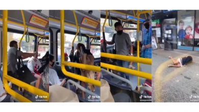 Photo of WATCH: Woman without face mask spits on passenger, gets pushed out of bus