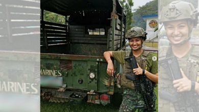 Photo of Winwyn Marquez tops her class on marine reservist training