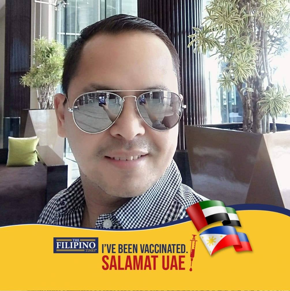 """""""I strongly believe na we should continue following COVID-19 protocols kahit vaccinated na. In my case I have diabetes and hypertension which are chronic diseases pero pasalamat ako dahil wala akong narasanang anumang side effects. I am forever grateful to the UAE government for their comprehensive response against this pandemic,"""" Jonathan Gulmatico, 21 years in UAE, 60 days since second dose"""