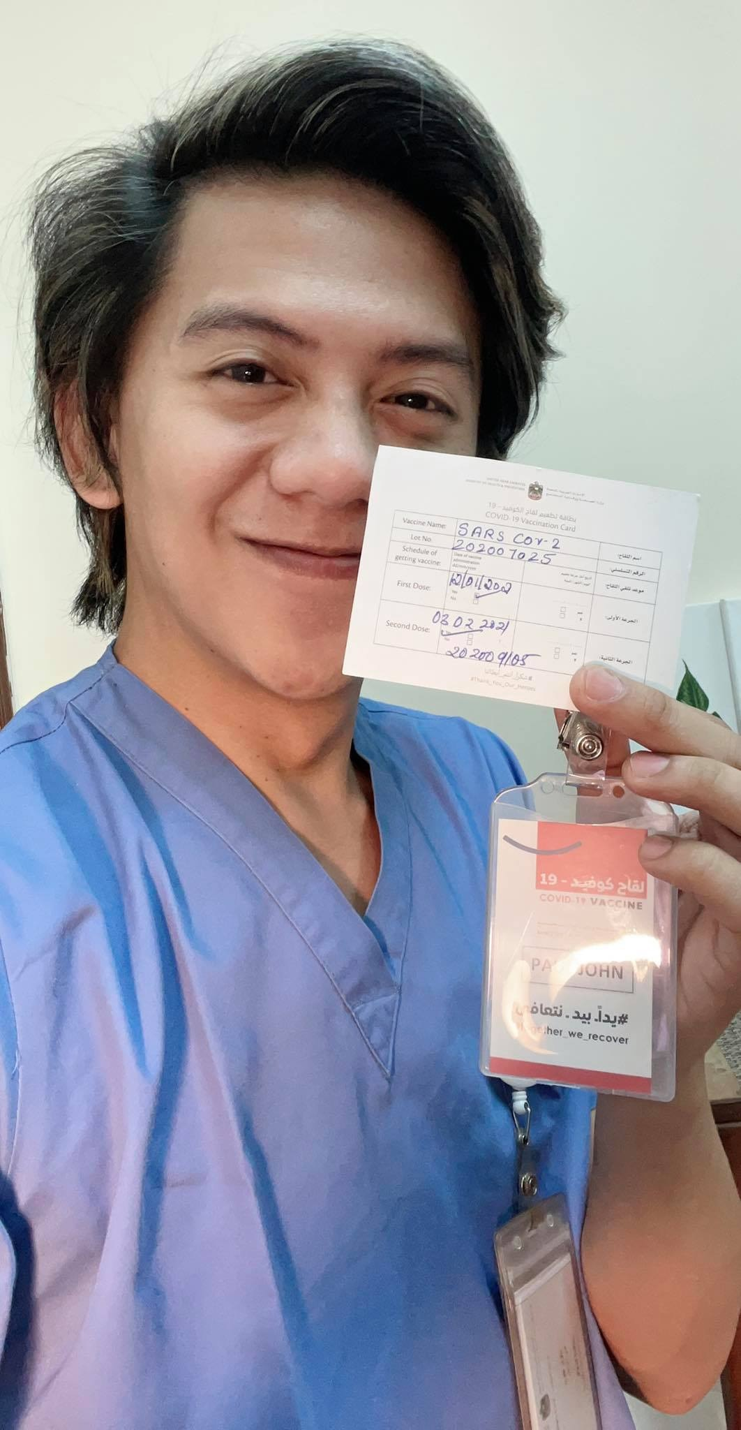 """""""Mas confident ako ngayong humarap sa aking mga pasyente bilang frontliner at ramdam kong pas protektado ako kapag haharap sa mga COVID-19 patients. I decided to take the vaccine to have enough protection and to protect also the people around me. MABROOK IMARATIYAH! To all the leaders of our beloved UAE, thank you so much for your unending support for all!,"""" Paul John Reyes, 4 years in UAE, 75 days since second dose"""